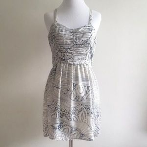 🌿 Solemio Dress Lace Print Blue Ruched Small